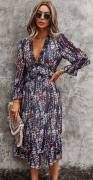 Lehké dlouhé šaty s 3/4 rukávem TMAVĚ MODRÉ