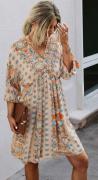 Letní šaty se šněrováním na zádech BÉŽOVÉ