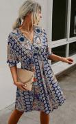 Letní šaty se šněrováním na zádech MODRÉ