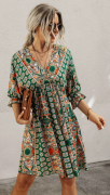 Letní šaty se šněrováním na zádech ZELENÉ