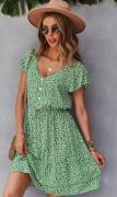 Zelenkavé šaty v pase na šňůrku